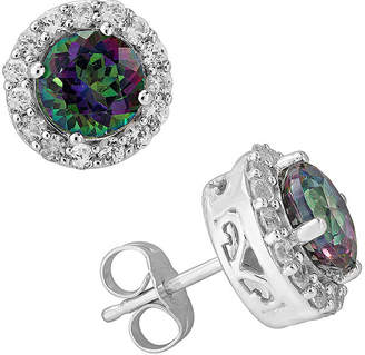 FINE JEWELRY Genuine Mystic Fire Topaz and Lab-Created White Sapphire Halo Earrings