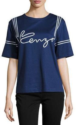 Kenzo Cotton Jersey Logo Tee, Midnight Blue $215 thestylecure.com