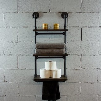 OS Home and Office Model P3T-BS 3-Tiered Wall-Mounted Pipe Shelf Rack With Reclaimed Aged-Wood Finish.