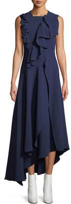 DELPOZO Sleeveless Asymmetric Ruffle A-Line Viscose Crepe Dress