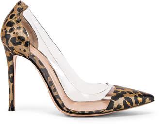 Gianvito Rossi Leopard & Plexi Pumps in Gold Leopard | FWRD