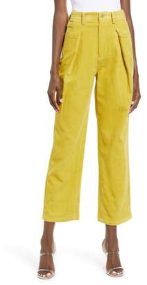 J.o.a. High Waist Cotton Corduroy Trousers