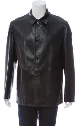 Prada Leather Button Up Jacket