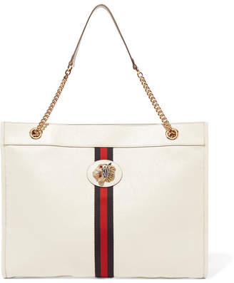 d6299681b7e Gucci Rajah Large Embellished Textured-leather Tote - White
