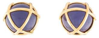 Verdura 18K Dyed Chalcedony Caged Earclips