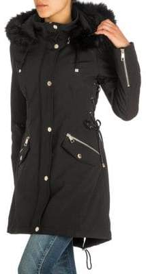 GUESS Soft Shell Lace-Up Faux Fur-Trimmed Jacket