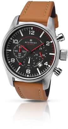 Accurist Men's Quartz Watch Dial Chronograph Brown Leather Strap 7022
