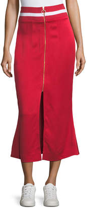 Neiman Marcus Maggie Marilyn Focus on the Good Flared Midi Satin Skirt w/ Ribbed Waist
