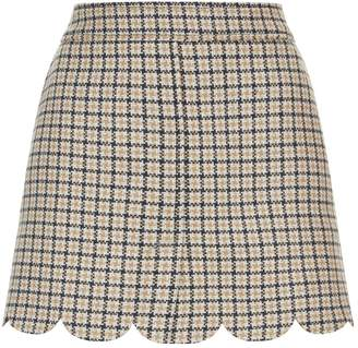 RED Valentino Check Scalloped Mini Skirt