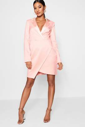 boohoo Wrap Over Tuxedo Dress