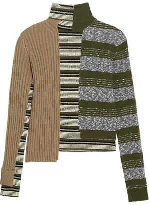 Maison Margiela - Striped Ribbed Wool-blend Turtleneck Sweater - Green $1,580 thestylecure.com