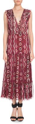 Altuzarra Aztec-Print Sleeveless V-Neck Silk Crepon Midi Dress