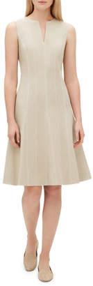 Lafayette 148 New York Rochelle Split-Neck Sleeveless Bi-Stretch Dress