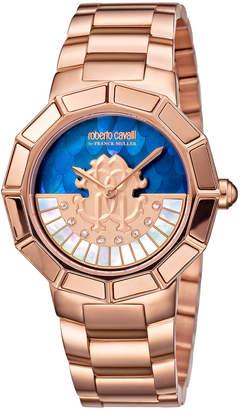 Roberto Cavalli By Franck Muller 37mm Men's Bracelet Watch w/ Rotating Diamond Dial, Pink Gold