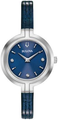Bulova Women Rhapsody Diamond-Accent Blue Patent Leather Strap Watch 30mm