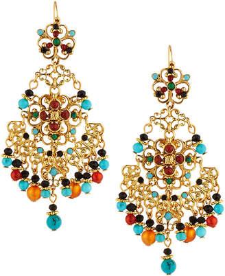 Jose & Maria Barrera Large Filigree & Crystal Drop Earrings