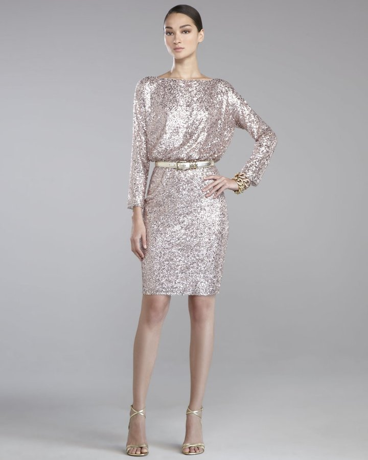St. John Sequined Tulle Dress, Orchid