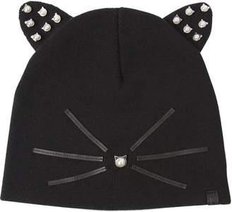 Karl Lagerfeld Paris Choupette Embellished Knit Beanie Hat