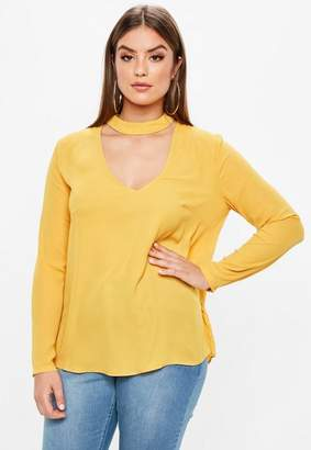 Missguided Plus Size Yellow Choker Neck Blouse