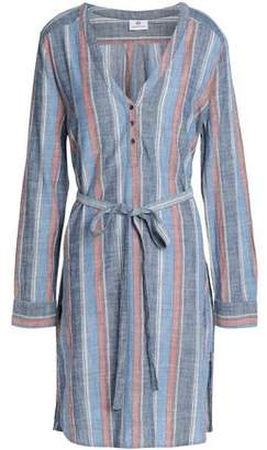 AG Adriano Goldschmied Belted Striped Cotton Shirt Dress