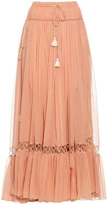 Chloé Silk-crepon drawstring maxi skirt