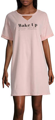 Ambrielle Womens Knit Long Sleeve Key Hole Neck Nightshirt