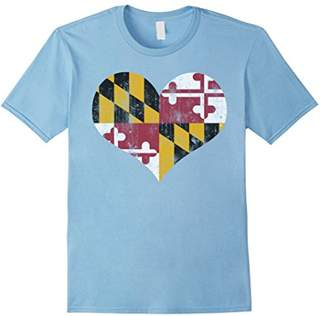 Vintage Heart Flag of Maryland T shirt