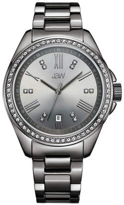 JBW Women Capri Diamond (1/8 ct.t.w.) Gun Metal-Plated Stainless Steel Watch