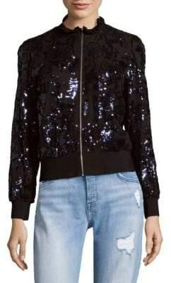 Rebecca Taylor Sequin Zip-Front Bomber Jacket