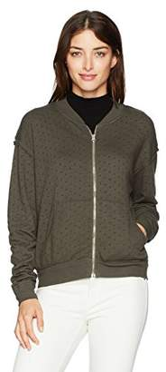 Michael Stars Women's Perforated Terry Rounded Zipper Bomber