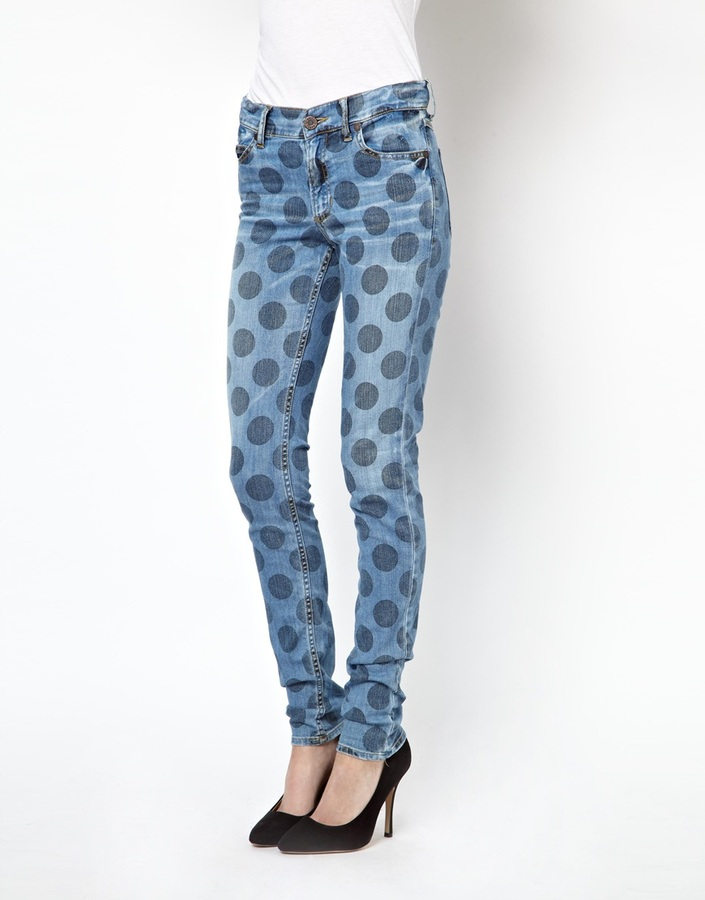 House of Holland Mid Rise Jeans in Polka Dot Spot