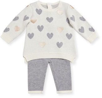 Miniclasix Heart Sweater w/ Leggings, Size 3-9 Months $64 thestylecure.com