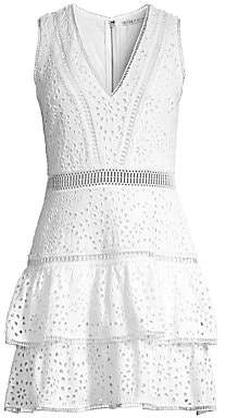 Alice + Olivia Women's Tonie Embroidered Eyelet Dress