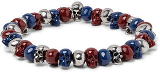 Alexander McQueen Skull Silver-Tone Beaded Bracelet