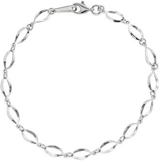 14K White Gold Pear-Shaped Link Bracelet, 1.9g