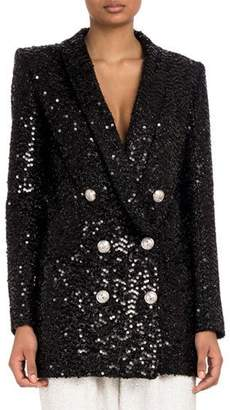 Balmain Double-Breasted Six-Button Paillettes Sequin Jacket