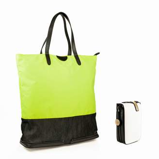 Charlie Baker London - London Fold Up Leather Tote Bag Neon