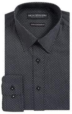 Nick Graham Modern-Stretch Fit Dot-Print Button-Down Shirt