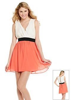 Chord® Juniors' Studded Surplice Dress