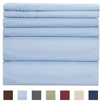 +Hotel by K-bros&Co King Size Sheet Set - 6 Piece Set - Hotel Luxury Bed Sheets - Extra Soft - Deep Pockets - Easy Fit - Breathable & Cooling Sheets - Comfy - Light Blue Bed Sheets - Baby Blue - Kings Sheets - 6 PC