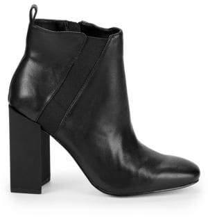 Halston Peregrun Block Heel Leather Booties