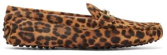 Tod's Gommino Leopard Print Calf Hair Loafers - Womens - Leopard
