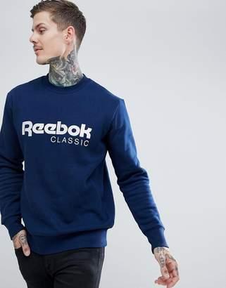 Reebok Classic Logo Sweatshirt In Navy CZ0302