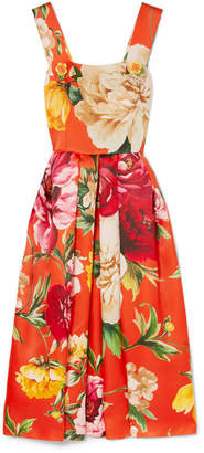 Dolce & Gabbana Pleated Floral-print Silk Midi Dress - Orange