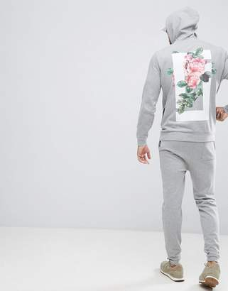Asos DESIGN Tracksuit Skinny Jogger/ Hoodie With Floral Print