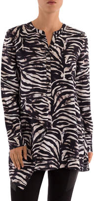 Zebra Print Long Line Shirt