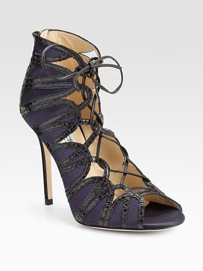 Jimmy Choo Feline Elaphe-Trim Satin Lace-Up Sandals