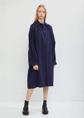 Y's Gathered Sleeve Cotton Shirt Dress