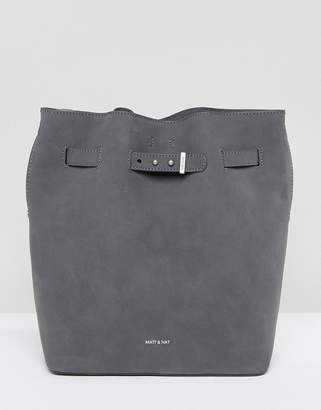 Matt & Nat Lexi Faux Suede Grey Bucket Bag