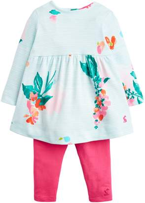 Next Girls Joules Blue Jersey Printed Dress And Legging Set